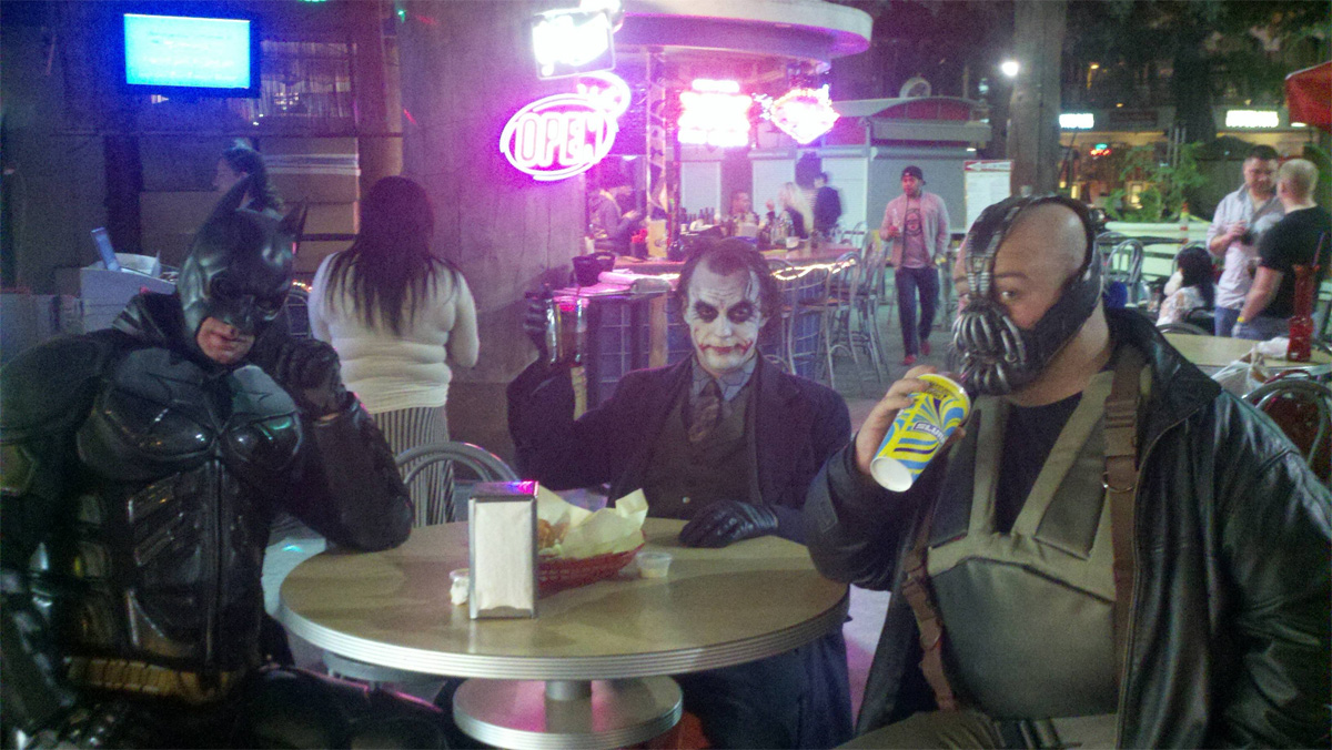 Batman, Bane and Joker come into a bar�