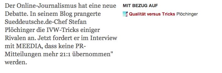 Jetzt fordert er im Interview mit MEEDIA, dass keine PR-Mitteilungen mehr 21:1 �bernommen