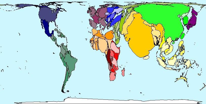 karte, die l�ndergr�ssen nach ihrer bev�lkerungsanzahl zeigt