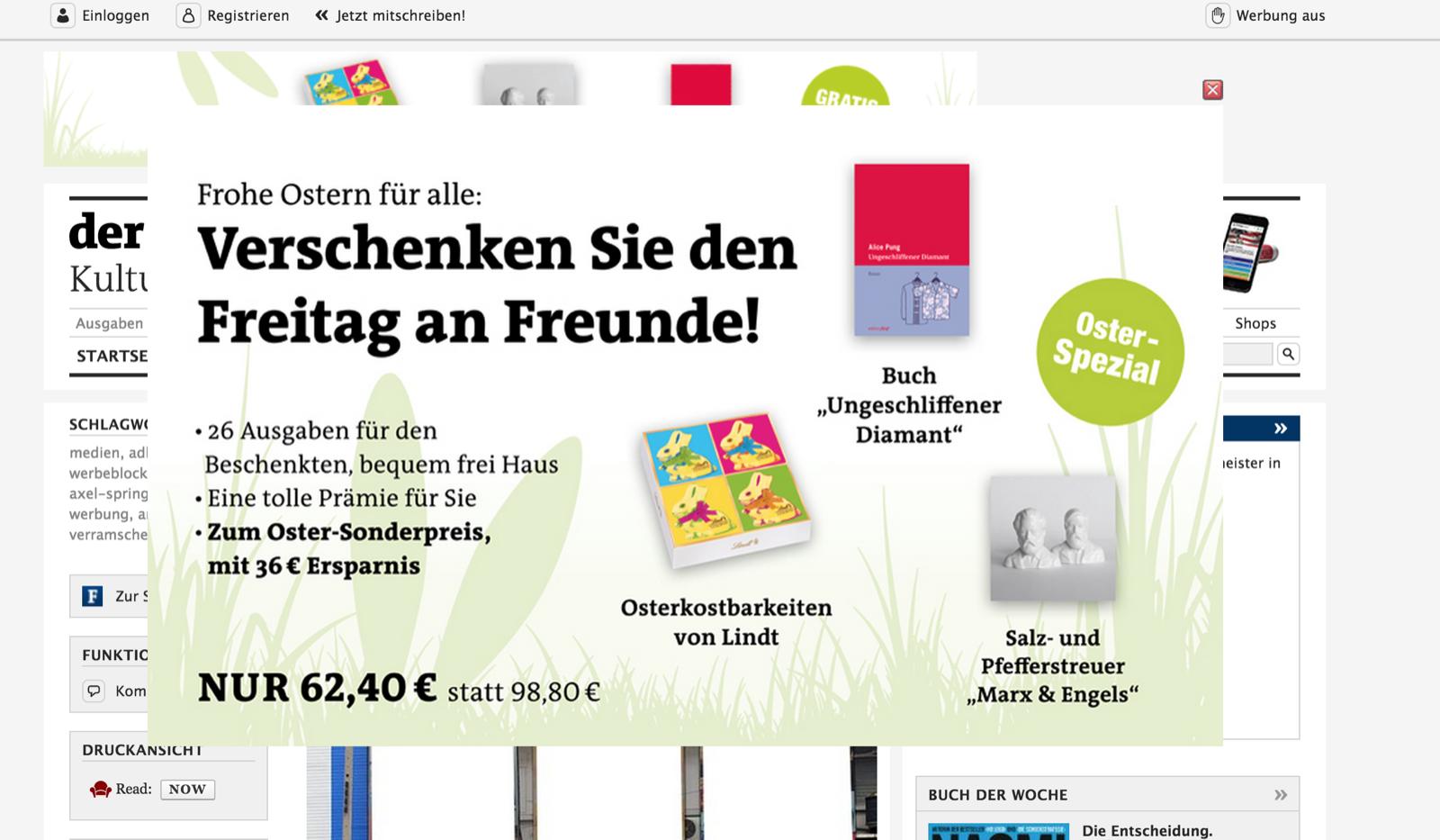 popupwerbung auf freitag.de